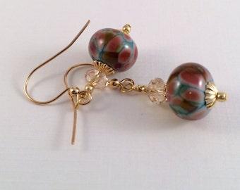 Beadwork Earrings, Blue Earrings, Red Earrings, Lampwork Earrings, Glass Earrings, Glass Bead Earrings, Teal Earrings, Boro Earrings