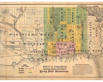 Digital Print, Toronto Art, Zombies, Toronto, Vintage Map, Toronto Map, Toronto ontario, ontario,  Zombie Art, Geekery, Alternate Histories