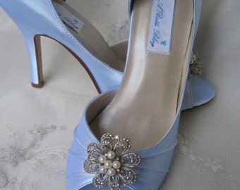 Blue Wedding Shoes Vintage Inspired Blue Bridal Shoes with Pearls and Crystal Rhinestone Design - Over 100 Color Shoe Choices to Pick From