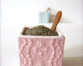 Pink Porcelain Lace pepper Cellar with Bamboo Spoon