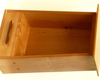 Wall Cabinet with Tapered Sides and Drawer, Cherry and Oregon Black Walnut