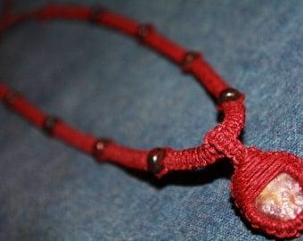 Radiant Ruby hemp necklace with jasper gemstone beads, macrame, natural