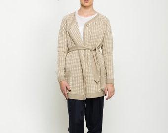 Women cream jacket, Beige cream double breasted knitted cardigan, jacquard pepita sweater, raglan sleeves