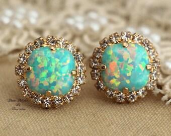 Opal Earrings,Mint Opal Earrings,Swarovski Mint Opal Earrings,Gold Opal Earrings,gift For Her,Swarovski Stud Earrings,Opal Stud Earrings