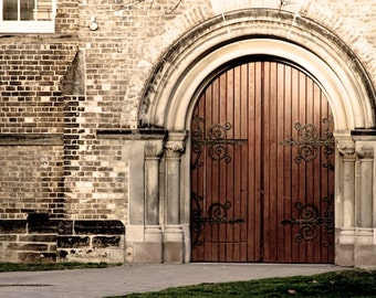 Rustic Door Photography Wall Art Home Decor Brown Neoclassical Photograph Architectural History Fine Art Print 4x6