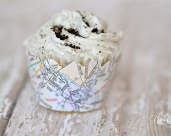 Atlas Map Cupcake Wraps - Set of 24 - Travel themed event - Standard or Mini Size