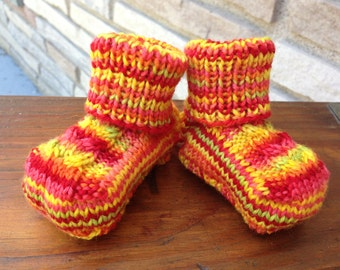 Knitted Baby Booties - Newborn Size - Yellow/Pink/Orange Variegated