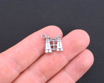 4 Binoculars Charms Antique Silver Tone 3D Charms - SC3372