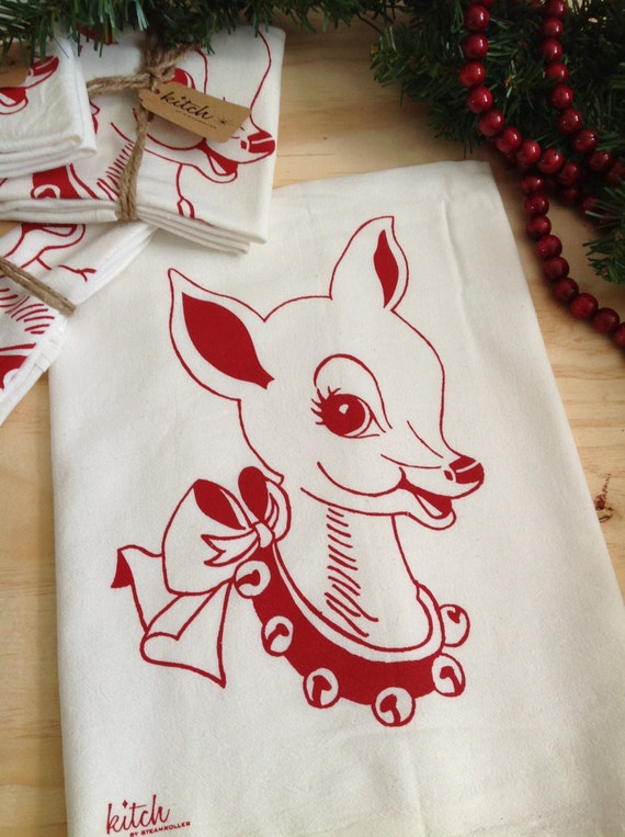 Christmas Tea Towel Retro Doe Holiday Deer Flour By