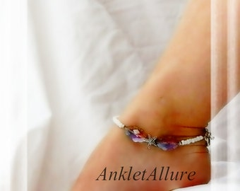 Under The Sea Starfish Anklet Beach Anklet Cruise Vacation Ankle Bracelet Scallop Amethyst Crystal Silver Ankle Bracelet