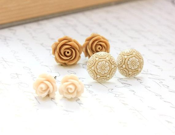 Tan Flower Earrings Rose Studs Brown Neutral Caramel Rose Vintage Inspired Floral Accessories Surgical Steel Posts Nickel Free Three Pairs