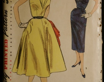 Simplicity 1132 Misses One-Piece Dress with Two Skirts Vintage 50s Sewing Pattern Sz 18