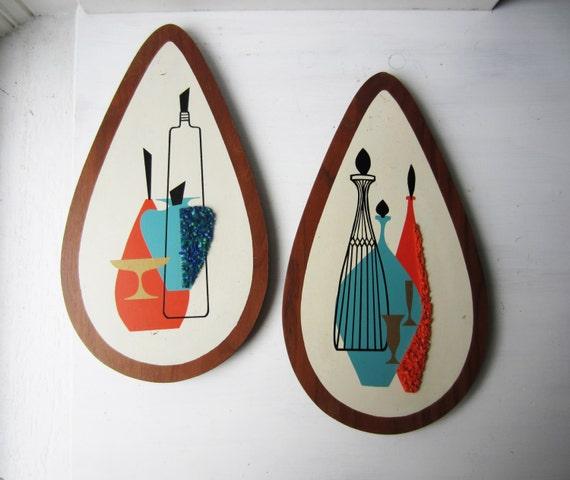 Pair Vintage Teardrop Mid Century Modern Wood Wall Hanging