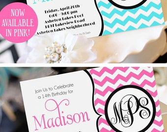 Teen Girl Birthday Invitation | Monogram Birthday Invitation | Sweet Sixteen Party Invitation | Chevron Invitation | Amanda's Parties To Go