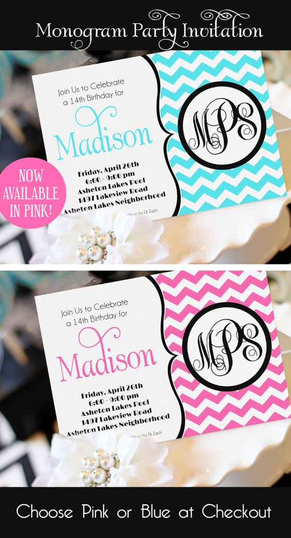 Teen Girl Birthday Invitation Monogram Birthday Invitation