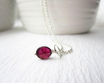 Dark Red Garnet Jewelry - Rhodolite Garnet Charm - Garnet Birthstone Charm - January Birthstone Jewelry - Sterling Silver - Just Dangles