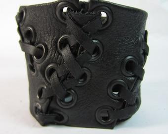 Black Leather Cuff Wristband Bracelet Urban Warrior Armband Men Women's Lace Up Corset