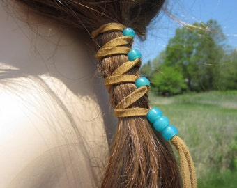 Vegan Leather Hair Wraps Ponytail Holders Beaded Bead Extensions Hair Accessories Women's hair styles A106