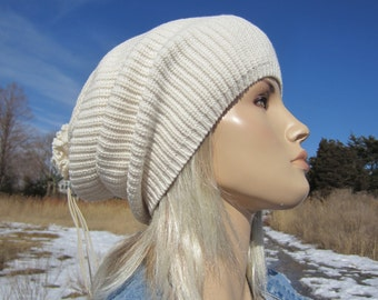 Thick Bulky Knit Hat Ivory Women's Beanie, Wide Cuff Slouchy Tam Winter White A1448