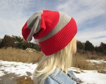 Slouch Tie Back Hat Striped Red Gray Wide Stripe Slouchy Beanie Cotton Knit Hat A1338