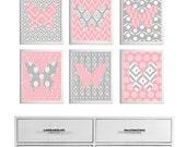 Nursery Ikat Butterfly Wall Art Pink Gray set of 6