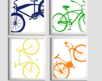 Modern Nursery Bicycle Art Silhouette Orange Green Navy Yellow set of 4 prints