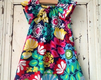 Girls Peasant Dress - Bright Floral Print - Children Clothing - Tunic A Line