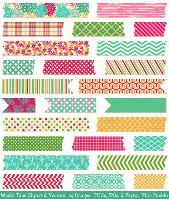Washi Tape Clip Art Clipart, Japanese Washi Tape Clip Art Clipart Graphics Vector - Commercial and Personal