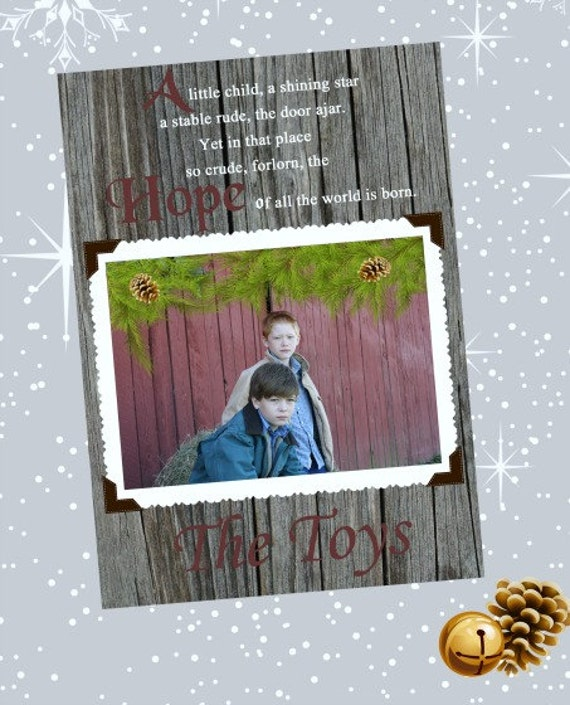 Rustic Barnwood Photo Christmas Card