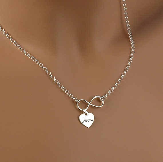 Infinity Necklace With Heart Charm Mom Infinate Love