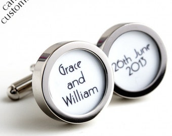 Custom Groom Cufflinks with the names of the Bride and Groom and their Wedding Date in 1920s Art Deco Lettering PC421