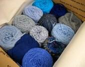 Mystery Box of Blue Yarn, Knitting Notions, Crochet Supplies, Vintage Yarn, Mixed Lot Vintage Yarn
