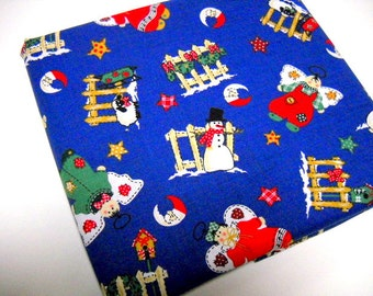 Christmas Fabric, Blue Fabric Remnant, 1 yard Mystery Fabric, Sewing Notions