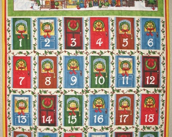 Sale Advent Calendar Christmas with Christmas Village and Door Pockets quilted