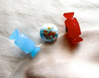 Vintage Candy Themed Hair Pins - Blue, Red, Repurposed