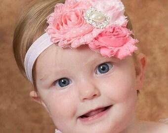 Pink Baby Headband, Headband, baby girl headband,Newborn Headband, shabby chic flower headband, baby headbands,Hair bows,Baby Hair bows.