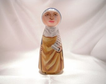 Saint Monica of Hippo - Catholic Saint Wooden Peg Doll Toy - made to order