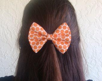 Orange Polka Dots Hair Bow Vintage Inspired Hair Clip Rockabilly Pin up Teen Woman