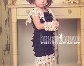 The Great Gatsby Little Black Dress ... Black Lace Dress with Vintage Ivory Lace Trim..Great For Photo Shoots, Tea Parties and Formal Events