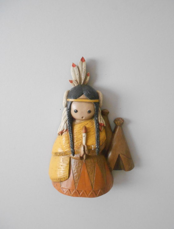 Native American Indian Wall Decor Plaque Wall Hanging 1960s
