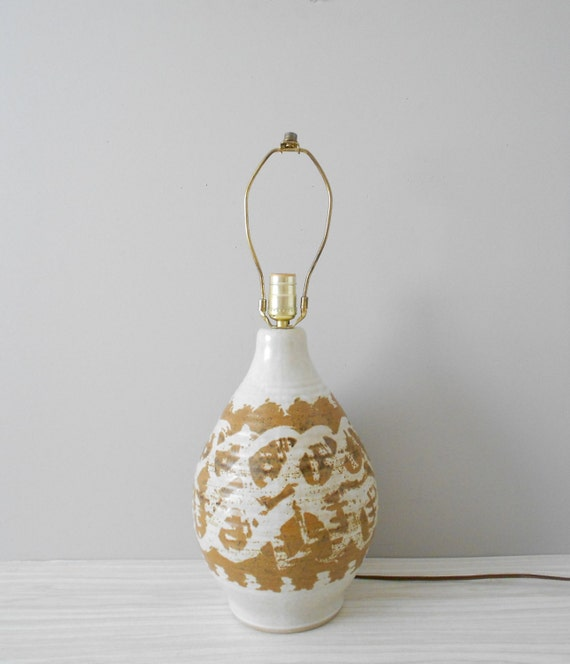 large boho ceramic stoneware pottery brown lamp // minimalist modern