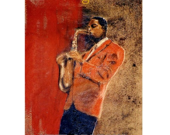 New Orleans, Midnight Jazz Saxophonist, Music, Cabaret, red, musician, Original illustration Travel poster Art Print, Free Shipping in USA.