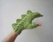 RESERVED for ALICIA   Dragon, dinosaur, monster green  fingerless mittens gloves, 100% pure Australian wool,medium female adult's size