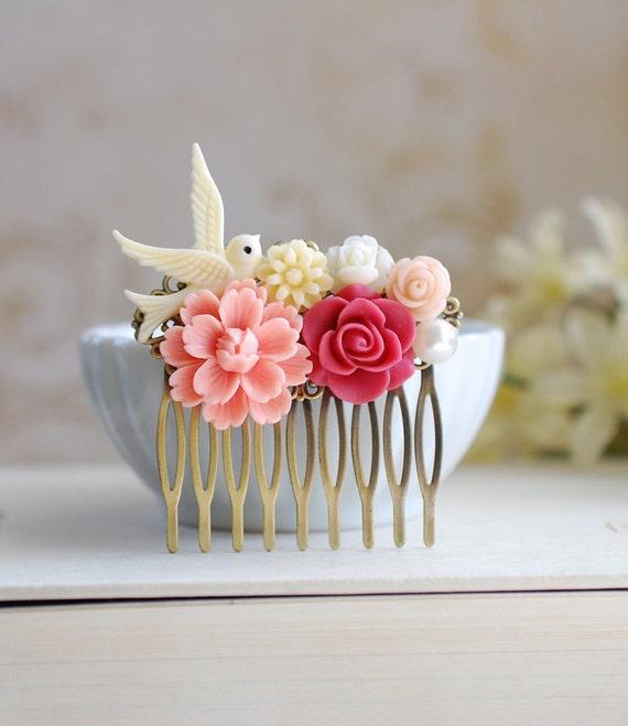 Ivory Bird Peach Pink Chrysanthemum Red Rose Flower Collage Hair Comb. Peach Wedding Bridal Flower Hair Comb, Flower Girl Bridesmaid Comb