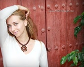 Chocolate BROWN fiber necklace SUN with mahogany OBSIDIAN, adjustable length micro macrame necklace