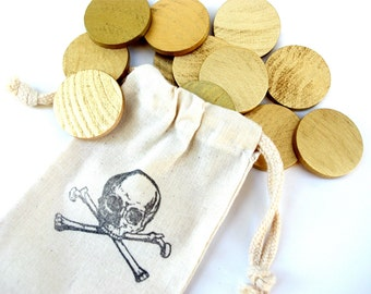 PIRATE Treasure Coins, Pretend Play Gold Doubloons in Drawstring Bag