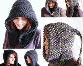 PDF hand knitting pattern - 'Bosky' Short Rows Shaped Hood Cowl combo