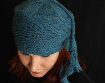 Hand knittng pattern - Hat 'Hollyhock' Twisted Stiches Lace Brim with Cables