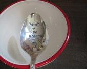 Ice Cream Spoon, Handstamped Ice Cream Spoon, Custom Gift, Vintage Silverplate Spoon, Custom Spoon, Personalized Spoon