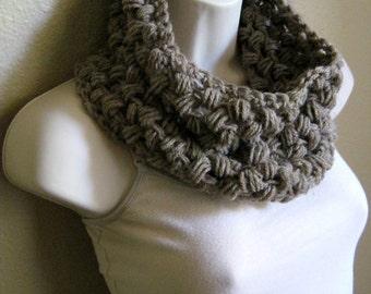 Wool Beige Crochet Bubble Cowl Scarf